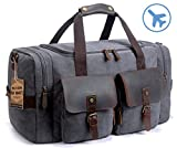 SUVOM Leather Canvas Duffle Bag Weekend Overnight Bag Travel Tote Duffel Luggage (Dark Grey)