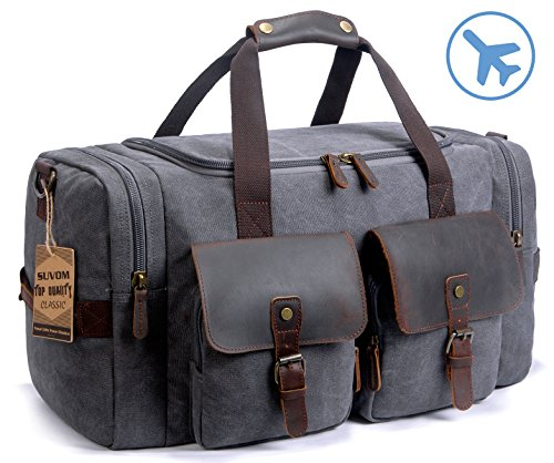 SUVOM Leather Canvas Duffle Bag Weekend Overnight Bag Travel Tote...