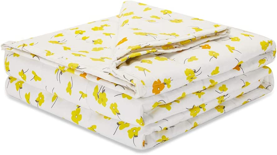 Weighted Idea Cooling Weighted Blanket 15 lbs Adults (48''x78'', Twin Size, 100% Natural Cotton, Yellow Flower)
