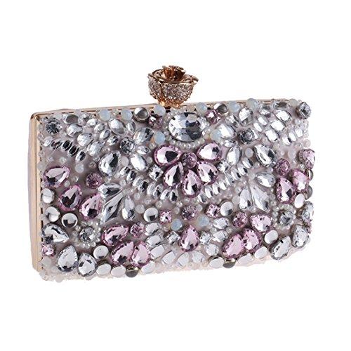 studded Diamond Pink New Bag Evening Fly Bag bag American Wild Bag Embroidered Evening Clutch European Bag evening aEqwwS5x