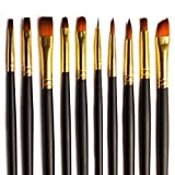 #6: BEST QUALITY: Brush Set 10 Bespoke Gold Nylon Assorted Paint Brushes for Acrylics, Watercolor & Oil - Premium Value Soft Bristle Set in a Stylish Zip Carry Case