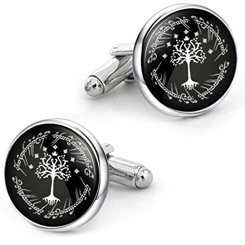 Kooer White Tree Cufflinks For Tree of Life Custom Personalized Cuff Links Wedding Cufflinks (Silver plated cufflinks) by Kooer