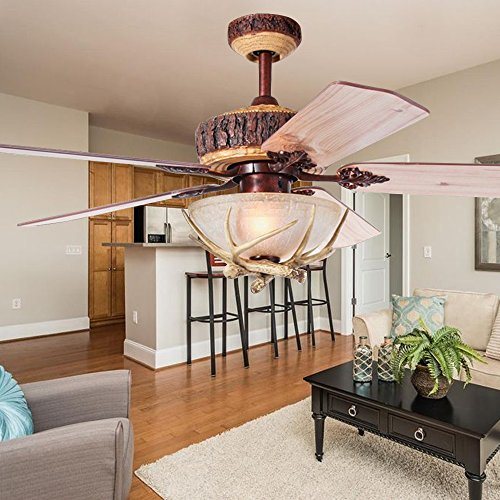 52 Inch Indoor Ceiling Fan Chandelier With Remote Control 1 Light Cover Antler 5 Wood Blades For Rustic Living Room Bedroom (Rustic Fan Covers Ceiling Light)