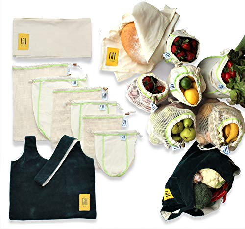 Reusable produce bags Organic Cotton Unbleached Mesh & Muslin 8 pc premium set. Durable & Machine washable w/tare weights on tags. Reduce plastic waste w/this Eco Friendly sustainable Zero waste set ()