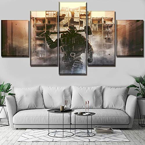 ZYYWAI 5 Canvas Paintings Mural Hd Prints Home Decoration Hd Print Picture Decor Living Room Wall Art Pieces Rainbow Six Siege Game Poster Modern Painting-8x14in 8x18in 8x22in
