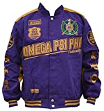 Omega Psi Phi Fraternity Mens Racing Twill Jacket Large Purple