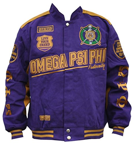 (Omega Psi Phi Fraternity Mens Racing Twill Jacket 5XL)