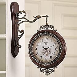 AIDELAI wall clock European-style Double-sided Wall Clock Mute Retro Modern Minimalist Living Room Clock Quartz Watch (Color : A, Size : 20inches)