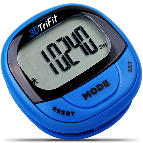 3DTriFit 3D Pedometer Activity Tracker | Best Pedometer for Walking with Pause Function & 7-Day Memory for Men & Women. Fitness Tracker Accurately Monitors Steps, Calories Burned & Distance (Blue)