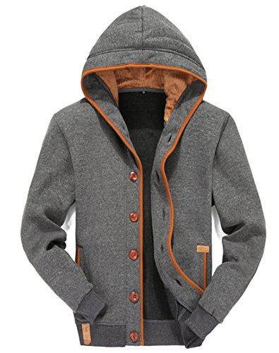 Mens Hoodies Button Fly Hooded Sweatshirt Fleece Jacket Casual Slim Coat Dark Grey L