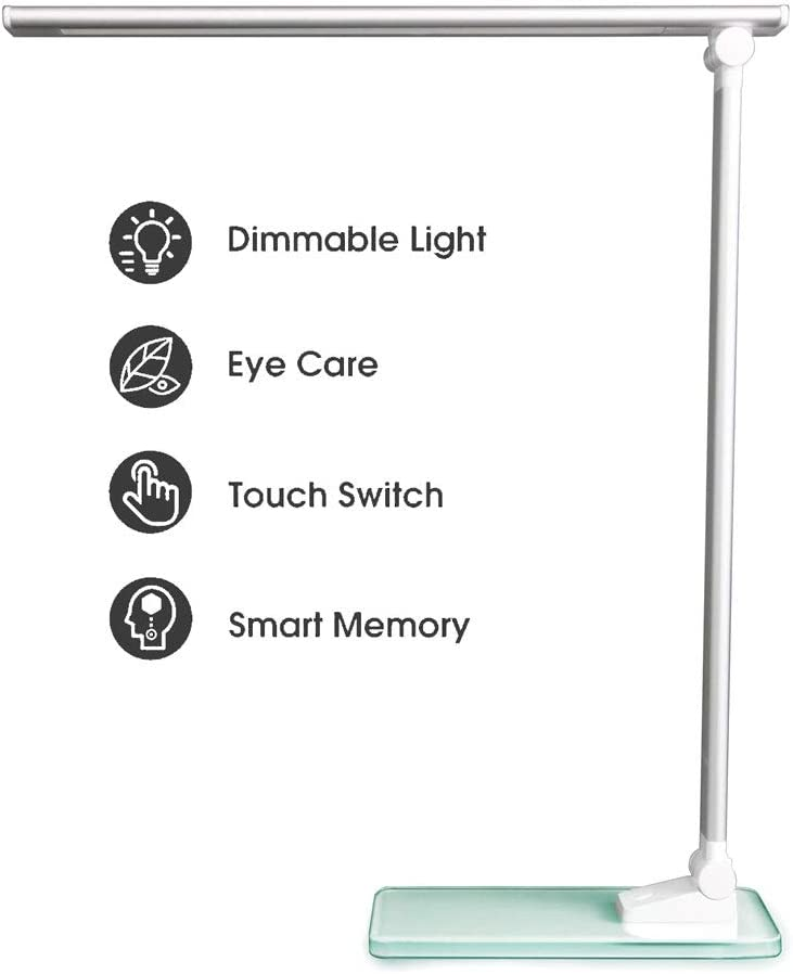 YouSheng LED Dimmable Desk Lamp Eye-Caring Study Touch Lamp with USB Port, 3 Levels Brightness, A Night Light Mode, Glass Base