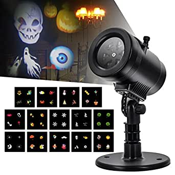 LED Projector Light Christmas- Tunnkit Upgraded 14 Switchable Slides/Patterns Decorative Light for Halloween Thanksgiving Holiday,4 Speeds,Auto-Timer,Thermal Module,IP65 Waterproof