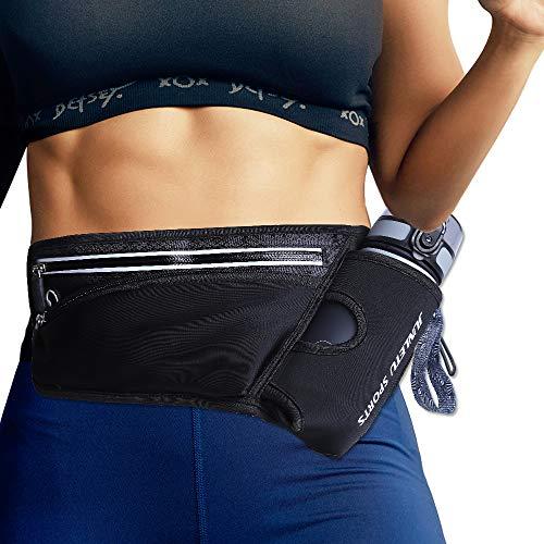Running Belt Hydration Waist Pack with Water Bottle Holder for Men Women Waist Pouch Fanny Bag Reflective Ultra Light Bounce Free Waist Pouch Sport Waist Pack Exercise Waist Bag for iPhone 8 X(Black)