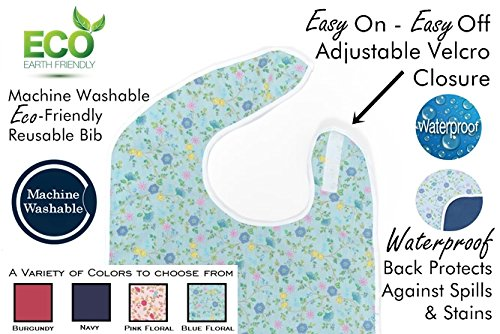 Adult Bibs - Shirt Saver - Lightweight Waterproof - Full Coverage - Easy Hook and Loop Closure - Machine Washable by Active Care