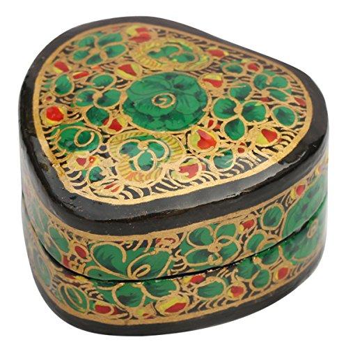 SouvNear 2.1 Inch Heart Shaped Ring Box – Eco-Friendly Paper Mache Green Ring Holder in Kashmir Art Floral Motifs - Studs Ring Knickknack Storage/Gift (Halloween Papier Mache Ideas)