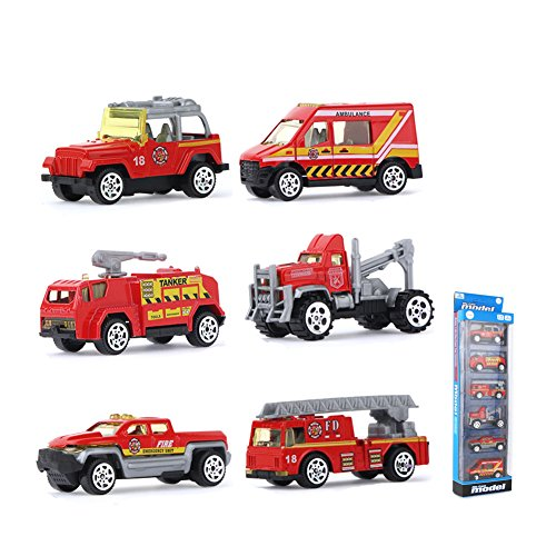 Coolplay 6 Sets Inertia Toy Die-cast Slide Fire Truck Toy Play Vehicles Advanced Simulation Model Miniature Car Toys for Kids