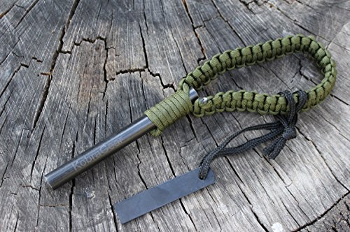 KobraGear Flint Fire Starter w/ Striker Drilled Ferro Ferrocerium Kit Tool FireSteel with OD Green Paracord Outdoor Survival Essential 550 Military 5 x 1/2 inch Rod Camping Equipment by KobraGear