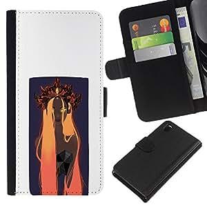 LECELL--Cuero de la tarjeta la carpeta del tirón Smartphone Slots Protección Holder For Sony Xperia Z3 D6603 -- Naranja Woamn Cabello --