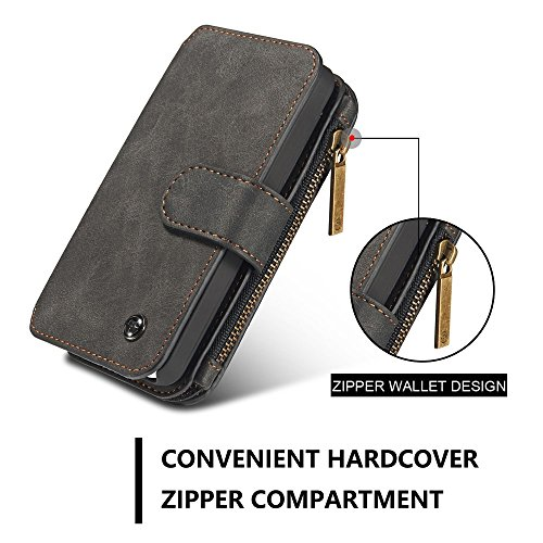 CASEME Multifunctional 2-in-1 Zipper Wallet Split Leather Tasche Hüllen Schutzhülle - Case für iPhone SE 5s 5 - schwarz