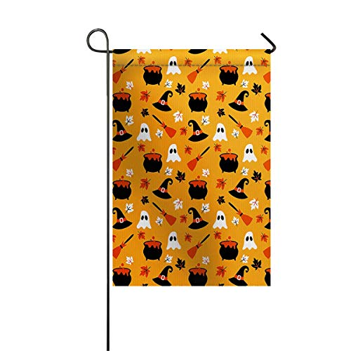 (zhurunshangmaoGYS Garden Flag House Banner Decorative Flag Home Outdoor Valentine, Cute Ghosts Figures Collection with Halloween Theme Abstract Doodle Pattern Yard Flag 12 x 18inch)