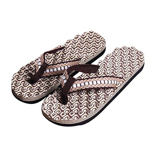 Voberry Heren Zomer Comfortabele Massage Slippers Schoenen Sandalen Mannelijk Slipper Indoor & Outdoor Flip-flops Bruin