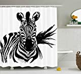 zebra fabric shower curtain - Ambesonne Sketchy Shower Curtain by, Portrait of African Safari Wildlife Animal Zebra Hand Drawn Image Artwork, Fabric Bathroom Decor Set with Hooks, 70 Inches, Black and White