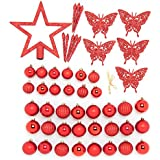 Festive 50 Piece Assorted Christmas Ornament Set, Red