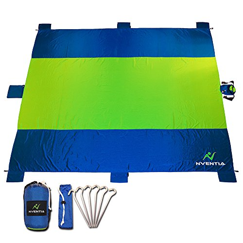 NVENTIA Beach Blanket - Oversized 9'x10' Premium Ripstop Nylon - Repels Water - Compact Carry Bag - Large Zippered Storage - 6 Metal Anchors & 6 Sand Pockets - Lightweight Portable Outdoor Travel Mat