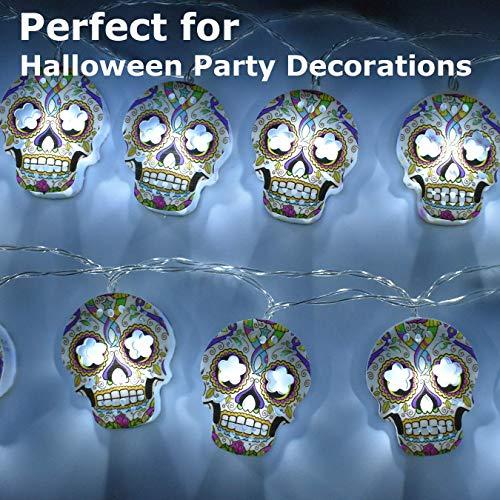 Decoraciones de Halloween, 3 metros, 20 luces LED de cadena, linterna de calavera 2D pintada a mano de colores espeluznantes a prueba de agua, lámparas con pilas AA para interiores y exteriores