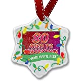 Personalized Name Christmas Ornament, 80 Years! Aged to Perfection, Happy Birthday NEONBLOND