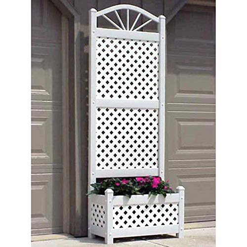 6.5-Foot Outdoor Rectangle Vinyl Sunburst Lattice Planter with Trellis