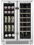 Whynter Cooler BWB-2060FDS 24' Built-in French Door Dual Zone 20 Bottle Wine Refrigerator 60 Can Beverage Center, Stainless Steel, One Size,