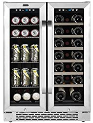 "Whynter Bwb-2060fds 24"" Built-in French Door Dual Zone 20 Bottle Wine Refrigerator 60 Can Beverage Center, Stainless Steel"
