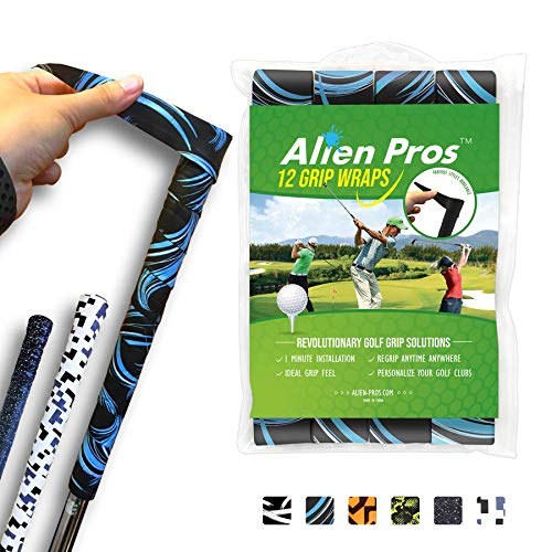 Alien Pros Golf Grip Wrapping Tapes (12-Pack) - Innovative Golf Club Grip Solution - Enjoy a Fresh New Grip Feel in Less Than 1 Minute (12-Pack, Blue Waves)