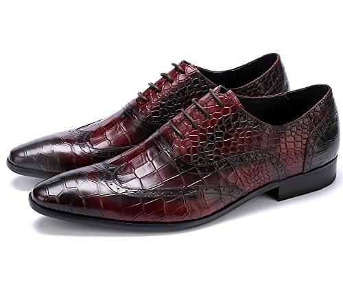 Hombres Boda Zapatos Encajes Vestir Negro Piedra Patrón Casual Cuero Formal Negocio Puntiagudo Dedo del pie Oxford para Hombres marrón Trabajo tamaño 38-44 brown
