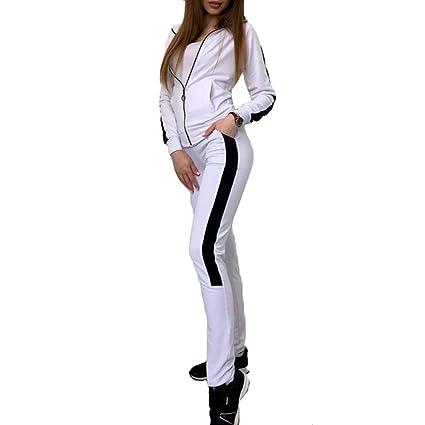Yoga Jogging Sport Set para Mujeres, Pantalones De Bolsillo + Manga Larga Cremallera Outcoat Tops Camiseta, Estampado De Rayas 2 Piezas Conjunto: Amazon.es: ...