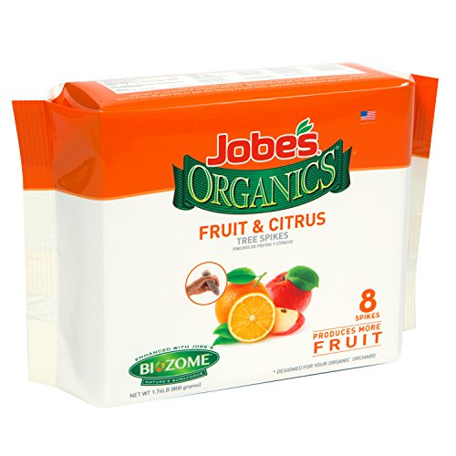 Jobe's Organics Fruit & Citrus Tree Fertilizer Spikes, 4-6-6 Time Release Fertilizer for All In-ground Citrus and Fruit Trees, 8 Spikes per Package ()