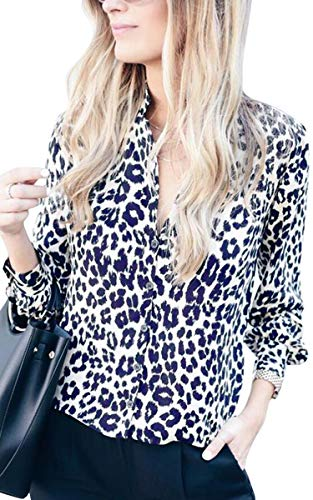 ECOWISH Womens V Neck Leopard Casual Print Tunic Long Sleeve Button Down Shirt Tops 229White M