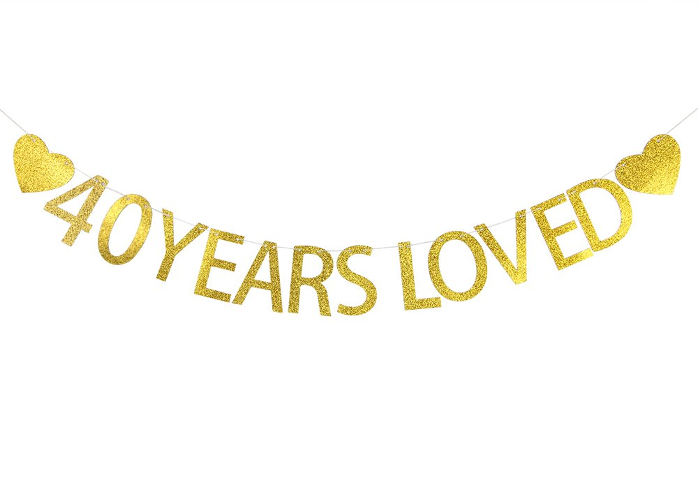 LOVELY BITON™ Gold 40 Years Loved Letters Banner Decoration Kit Themed Party Banner for Birthday Wedding Showers Photo Props Window Decor