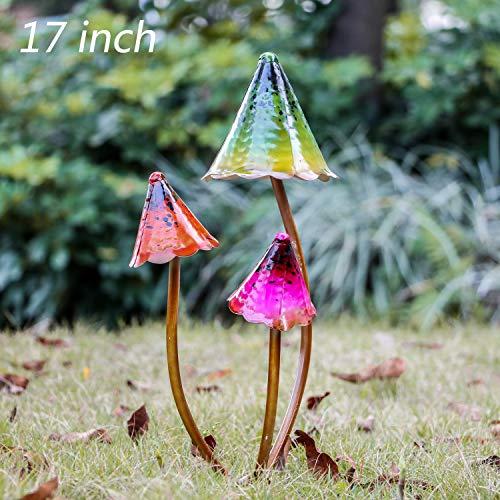 TERESA'S COLLECTIONS 17 inch Outdoor Metal Mushroom Fairy Garden Statues Accessories, Outdoor Statues Figurines with Coating Craft -