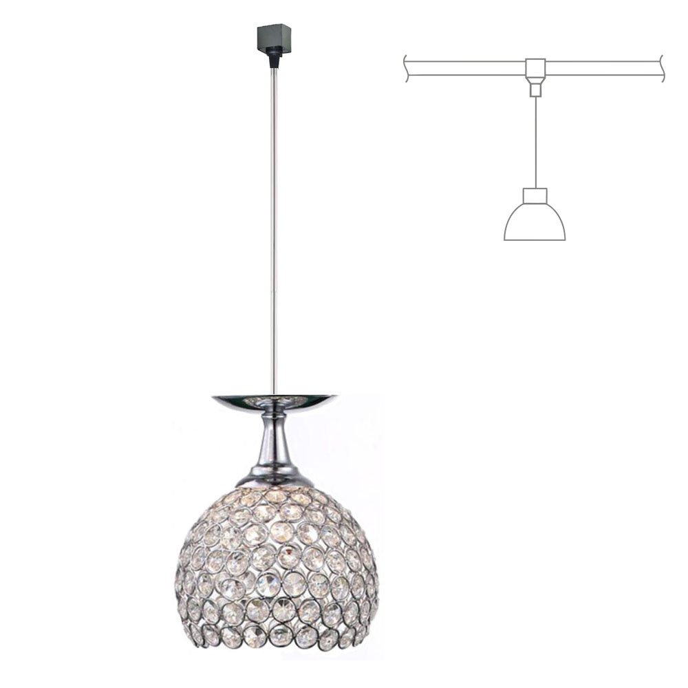 KIVEN Crystal and Chrome Brilliant 5.9'' Pendant Light – H-Type Track Lighting Pendant lamp,Bulb Not Include,One Light (TB0295)