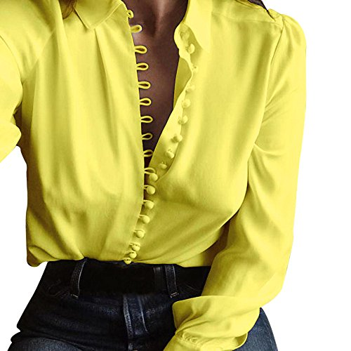 Blouse Tee Femme Jaune Col Sixcup Chemise Chic Manches Shirt Top en Longues Casual T Classique V Boutonne Chemisier Fluide wUSxTExYn