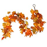 National Tree 70 Inch Garland with Maple Leaves and Pumpkins (RAHV-G060202A)