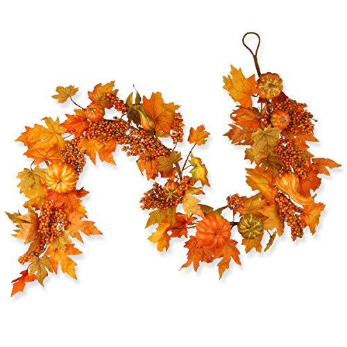 National Tree 70 Inch Garland with Maple Leaves and Pumpkins (RAHV-G060202A) -