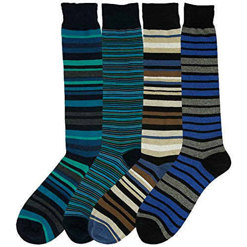 Business Office Socks, SUTTOS Men's Women's Youth Crazy Wonder Fun Green Blue Black Bright Color Colorful Striped Patterned Big & Tall Knee High Over Calf Wedding Groom Dress Boot Socks,4 - Pair Shipping Funky