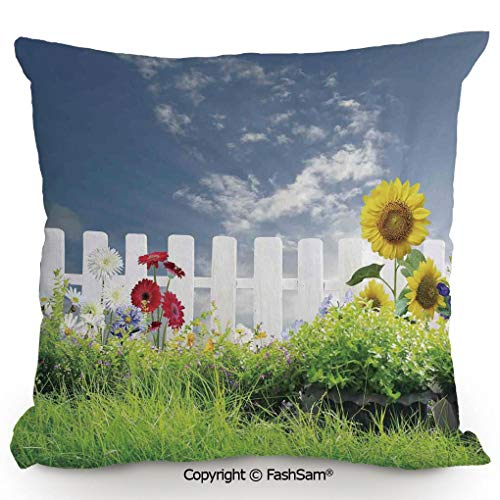 (FashSam Decorative Throw Pillow Cover Grass Foliage Field with Sunflowers Daisy Hedge Fence Yard Jardin for Pillow Cover for Living Room(20