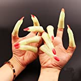 Moon mood 10 Pcs Luminous Ghost Witch Zombie Finger Toys for Halloween Party Cosplay Fanny Props -Red Nails SET