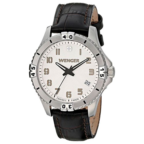 Bezel Silver White Leather - Wenger Squadron Women's Quartz Watch with Silver Dial Analogue Display and Brown Leather Strap 010121106