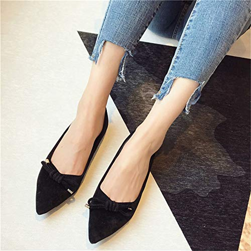 suede flat office slip EU bow soft shoes comfortable ladies shoes mouth bottom shallow 35 shoes FLYRCX Spring work non and summer single strap tq44AZ
