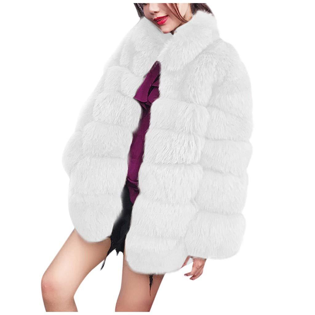 SSYUNO Women's Winter Lapel Furs Coat Jacket Luxury Thick Faux Fur Coat Jacket Warm Parka Coats Overwear Outwear White by SSYUNO